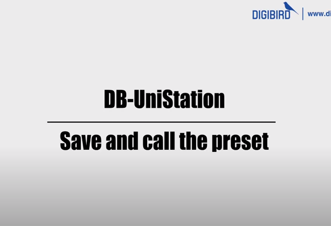 DB-UniStaion Feature Demo_Save and Recall Presets